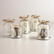 Etched Monogram Cloche Filled Candles
