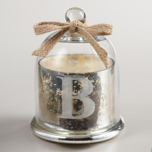"Etched ""B"" Mercury Glass Filled Candle with Cloche"