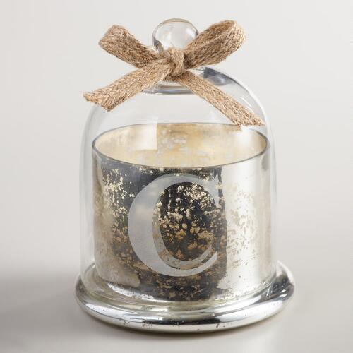 "Etched ""C"" Mercury Glass Filled Candle with Cloche"