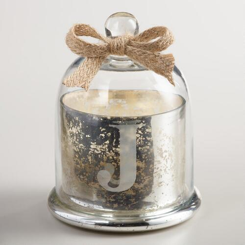 "Etched ""J"" Mercury Glass Filled Candle with Cloche"
