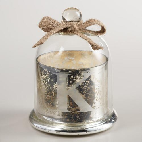 """Etched """"K"""" Mercury Glass Filled Candle with Cloche"""