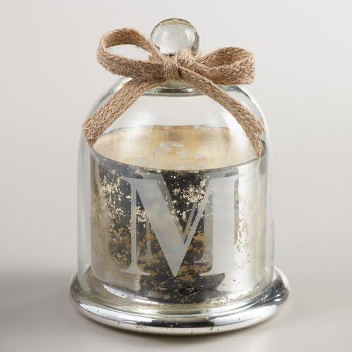 "Etched ""M"" Mercury Glass Filled Candle with Cloche"