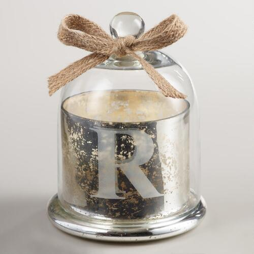 "Etched ""R"" Mercury Glass Filled Candle with Cloche"