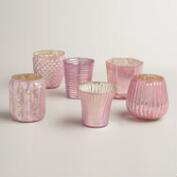 Pink Mercury Glass Votive Candleholders, Set of 6