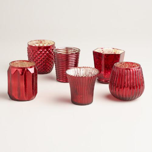 Red Mercury Glass Votive Candleholders, Set of 6