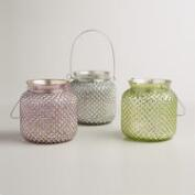 Large Hobnail Mercury Glass Tealight Lanterns, Set of 3