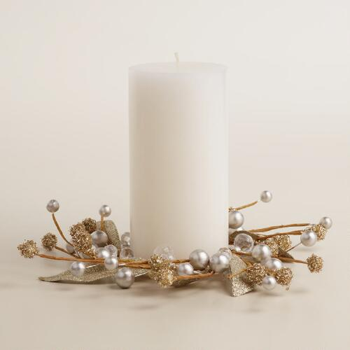 Glittered Leaves Christmas Waltz Candle Ring