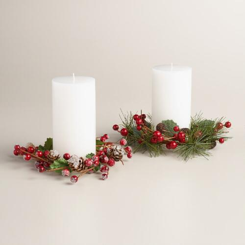 Pinecone and Berries Garden Shed Candle Rings, Set of 2