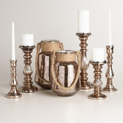 Warm Copper Mercury Glass Candleholder Collection