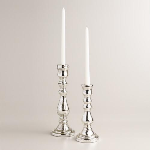 Antique Silver Mercury Glass Taper Candleholder