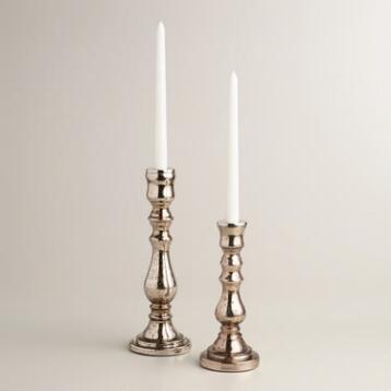 Warm Copper Mercury Glass Taper Candleholder