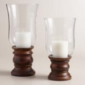 Burnt Wood and Glass Hurricane Candleholder