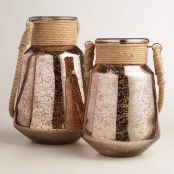 Warm Copper Mercury Glass Lantern with Jute