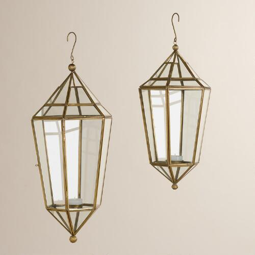 Clear Glass and Metal Faceted Hanging Lantern