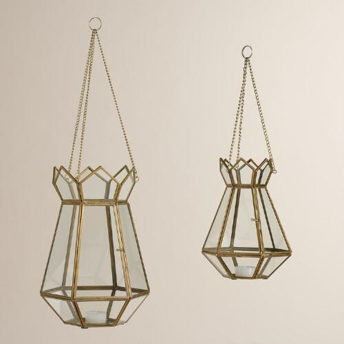 Clear Glass and Metal Lotus Lantern