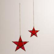 Red Glass and Metal Star Hanging Lantern