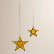Amber Glass and Metal Star Hanging Lantern