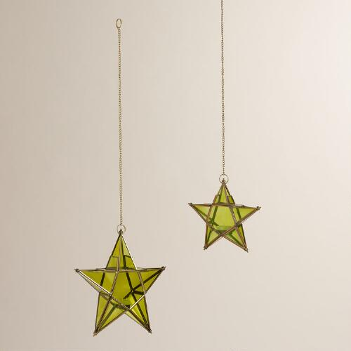 Green Glass and Metal Star Hanging Lantern