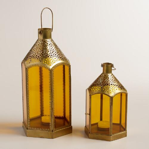 Amber Glass and Metal Lantern
