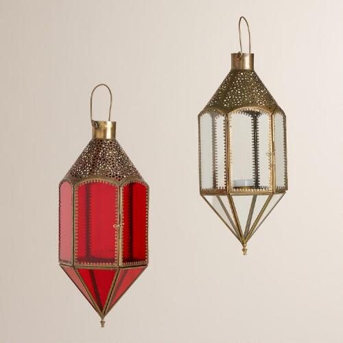 Glass and Metal Hanging Lantern