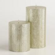 Silver Herringbone Pillar Candle