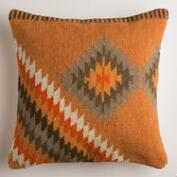 Orange Montesilvano Wool Throw Pillow