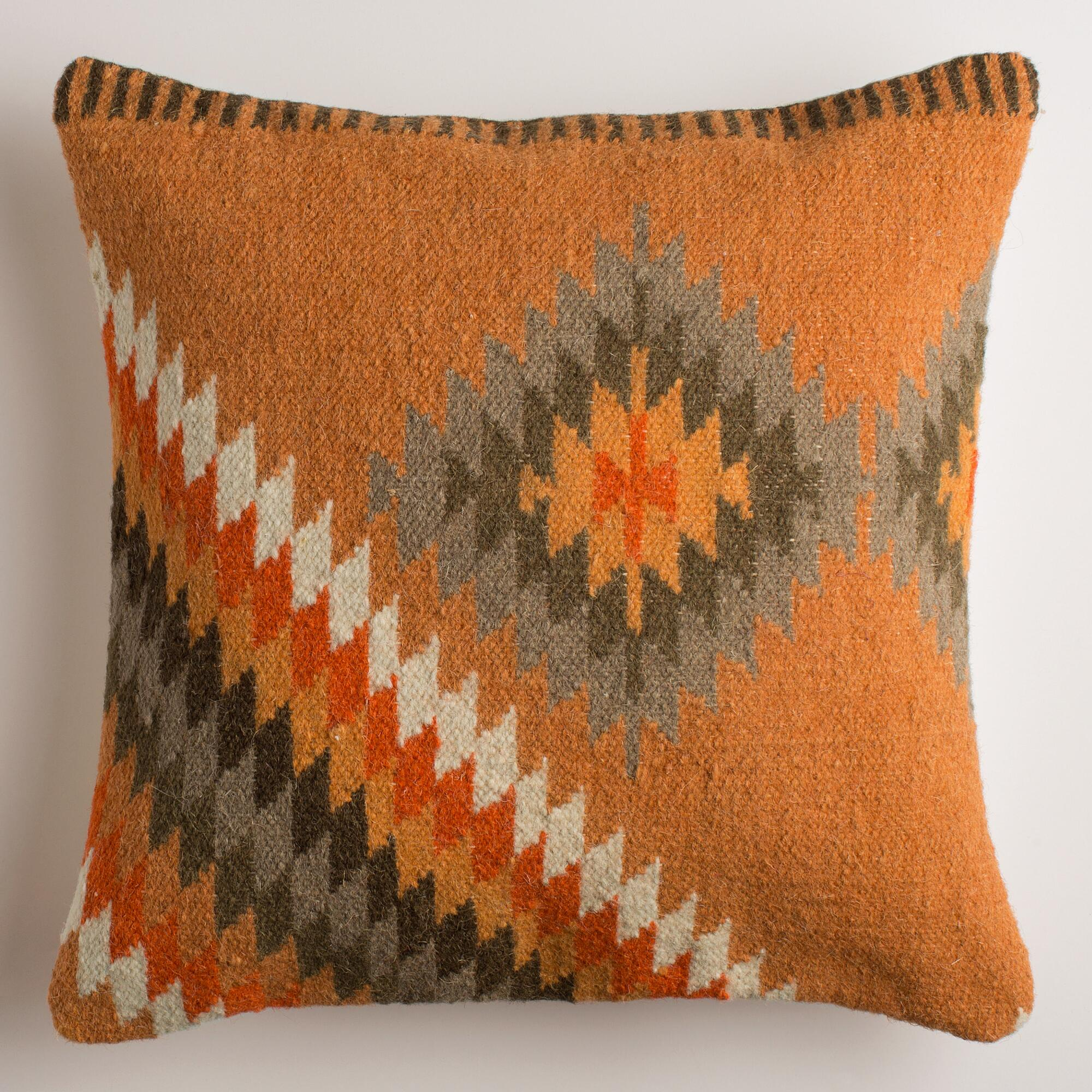 Orange Decorative Pillows Couch : Orange Montesilvano Wool Throw Pillow World Market