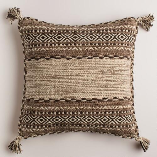 Taupe Ganale Cotton Throw Pillow