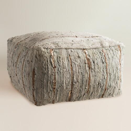 Gray Alberdi Leather Pouf