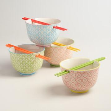 Noodle Bowls with Melamine Chopsticks, Set of 4