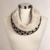 Black and Ivory Cable Knit Snood
