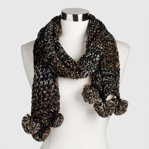 Black and Gray Metallic Scarf with Pompoms