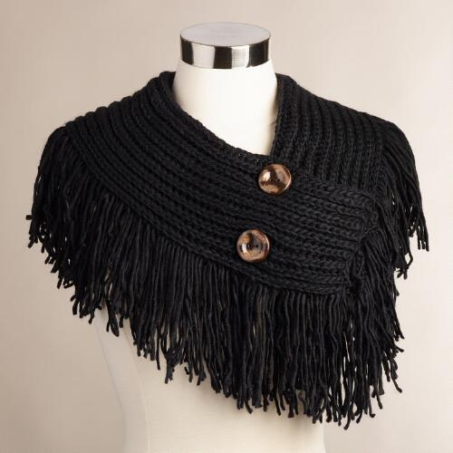 Black Button Collar Scarf with Fringe