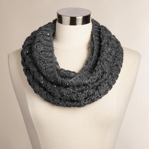 Slate Gray Cable-Knit Snood with Sequins