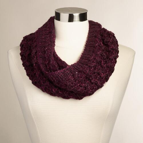 Wine Cable Knit Snood with Sequins