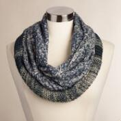 Blue and Ivory Mixed Knit Snood