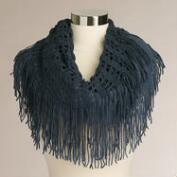 Blue 2-Tone Infinity Scarf with Fringe