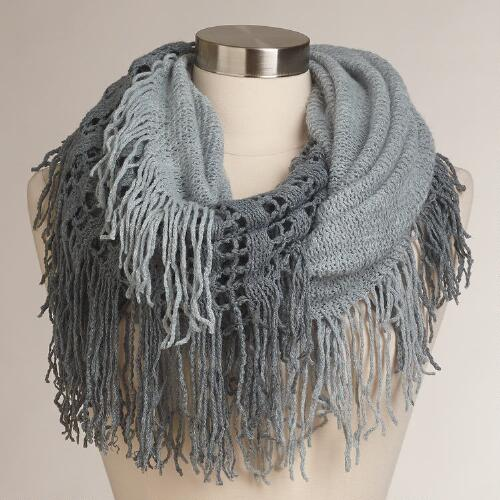 Gray Two-Tone Infinity Scarf with Fringe