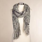 Long Gray and Ivory Knit Scarf
