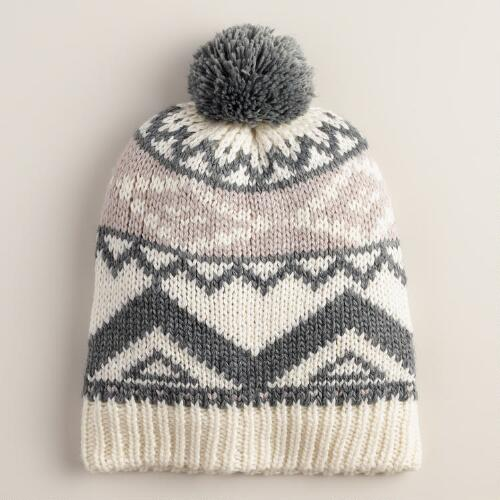 Gray and Ivory Tribal Beanie