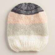 Gray and Blush Color Block Beanie