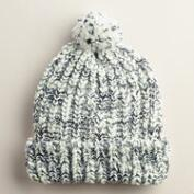 Ivory and Black Pompom Knit Beanie