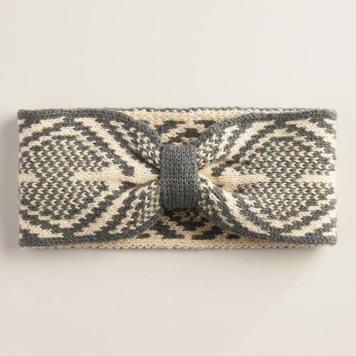 Gray Geometric Head Warmer