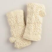 Ivory Crochet Wool Gloves