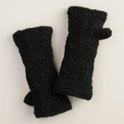 Black Crochet Wool Gloves