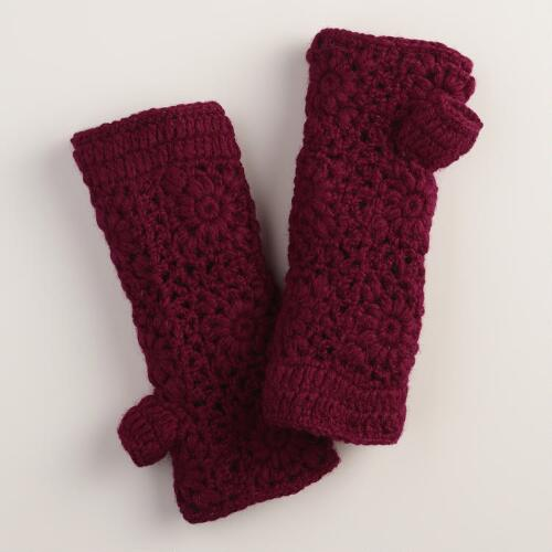 Wine Crochet Wool Gloves