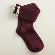 Wine Lace Knee-High Socks