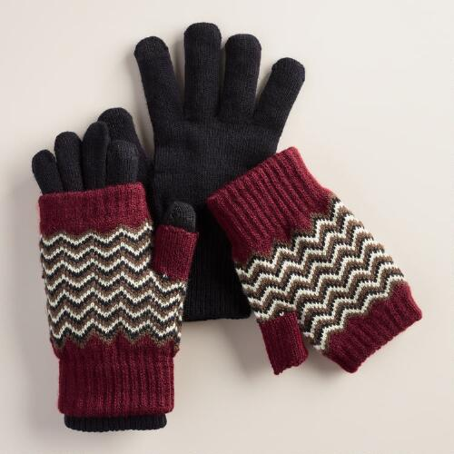 Red Zigzag 3-in-1 Tech Gloves
