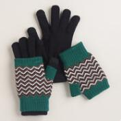Blue Zigzag 3-In-1 Gloves
