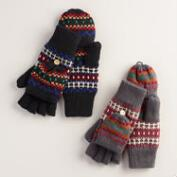 Gray or Black Fairisle Glittens